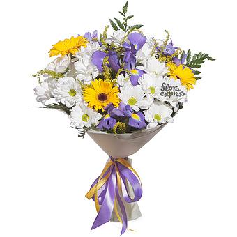 Букет Обыкновенное чудо: Хризантема и ирисы