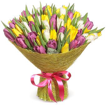 Букет Салют весны: Микс тюльпанов