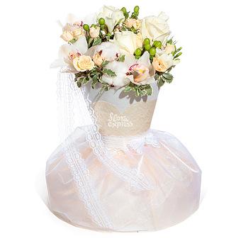 Букет Невеста: Орхидеи и хлопок